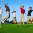 Group of young jumping outdoors grass — Stock Photo #5511612