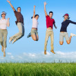 Jumping young happy group in meadow — Stock fotografie