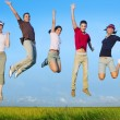 Jumping young happy group in meadow — Stockfoto #5511668