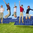 ストック写真: Jumping young happy group green solar energy