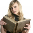 Blond beautiful student woman reading old book — Stock Photo