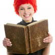 Happy funny student beautiful girl with old book — Stock Photo