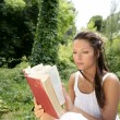 Beautiful woman reading a book in forest, nature — Stock Photo