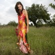 Stock Photo: Womhaute couture on forest outdoors