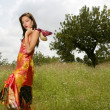 Woman haute couture on the forest outdoors — Stock Photo