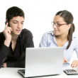 Young couple teamwork cooperation with laptop — Stock Photo #5512163