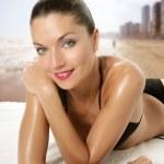 Beautiful sexy woman with red lips and bikini — Stock Photo