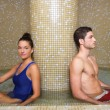 Couple in cool spa water round pool after sauna — Stock Photo #5512435