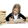 Little blond student school girl reading old book — Stock Photo