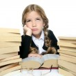 Little unhappy sad student blond braided girl bored with stacked — Stock Photo