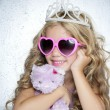 Fashion little princess girl pink teddy bear - Stock Photo