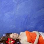 Beautiful redhead woman in massage blue board — Stock Photo #5512835