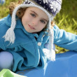 Beautiful toddler girl winter hat portrait outdoors — Stock Photo