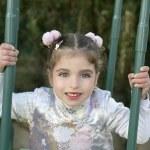 Beautiful caucasian little girl with asian dress — Stock Photo