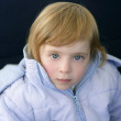 Beautiful blond toddler little girl  winter coat — Stock Photo