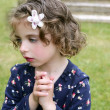 Beautiful brunette blue eyes little girl portrait on grass — Stock Photo #5513164