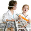 Naturalist little girls with butterfly collection — Stock Photo