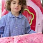 Beautiful preschooler student little artist girl — Stock Photo #5513264