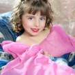 Beautiful little princess magic pink girl — Stock Photo