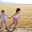 Girls playing with the round wheat dried bales — Stock Photo