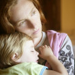 Baby toddler girl sleeping in mother arms — Stock Photo #5513422