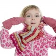Royalty-Free Stock Photo: Blond little girl with pink scarf and gloves