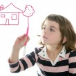 Little girl drawing real state house — Stockfoto