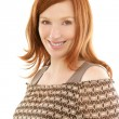 Redhead beautiful woman portrait smiling — Stock Photo