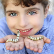 Little girl palying with silkworm in hands - Stock Photo