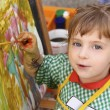 Artist school little girl painting watercolors portrait — Stockfoto