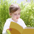 Little blond girl reading book green spikes garden — Stock Photo