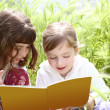 Tow little sister girls reading book spikes garden — Stock Photo #5513965