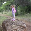 Explorer little girl forest park searching — Stock Photo