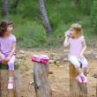 Two little girls sit on forest park tree trunks - Stock Photo