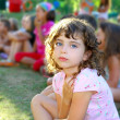 Girl spectator little children looking show outdoor park — ストック写真