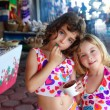 Sister little girls eating chocolate ice cream summer — Foto de Stock