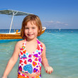 Blond beach little girl Caribbean vacation — Stok fotoğraf