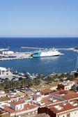 Denia alicante vista de alto castelo de porto de vila espanha — Foto Stock