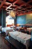 Interior restaurant decoration warm wood ceiling — Stock Photo
