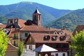 Hecho Valley Pyrenees village roof and mountain — Stock Photo