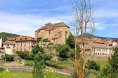 Hecho village Pyrenees with Romanesque church — Stock Photo