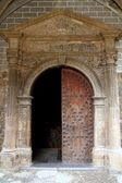 Anso Romanesque door arch in church Pyrenees — Stock Photo