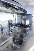 Blue silver kitchen modern architecture decoration — Stock Photo