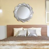 Bedroom modern silver mirror fake fur blanket — Stock Photo