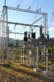 Electric transformer station little village size — Stock Photo