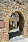 Ainsa medieval romanesque village arch fort door — Stock Photo