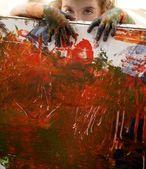Children artist hands painting multi colors — Stock Photo