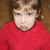 Crying weeping gesture face little girl face — Stock Photo