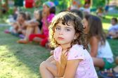 Girl spectator little children looking show outdoor park — Stok fotoğraf