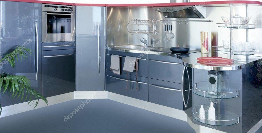 Grijs zilver kitchenw modern interieur huis — stockfoto ...